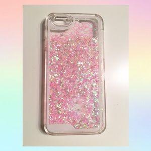 Kawaii Pink Liquid Glitter Heart Iphone 6/6s Case